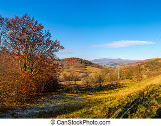 trees with red foliage in autumnal countryside with mountain...