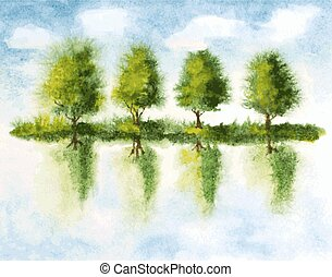 trees with reflections in lake water. watercolor vector ...