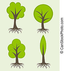 Trees with roots - Various trees with roots. Vector ...