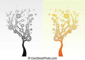 Trees with round leaves. Vector