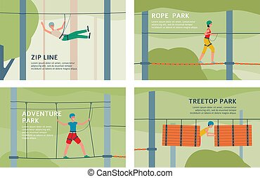 Treetop adventure rope park and zip line - flat banner set with cartoon people on walking on obstacle course in summer forest with safety equipment. Vector illustration.