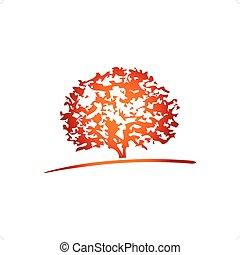 Beautiful stylized tree and lanscape vector illustration isolated on white background.