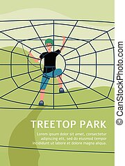 Treetop park poster with cartoon boy climbing rope spider web in safety equipment in outdoor playground. Summer adventure park ad template - flat vector illustration.