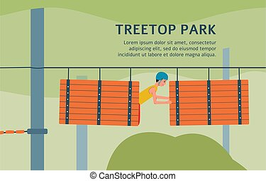 Treetop rope park banner template with cartoon man climbing through barrel obstacle course in safety helmet. Vector illustration of extreme adventure park.
