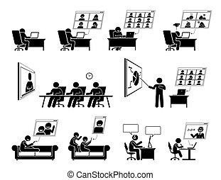 treffen online, daheim, wfh, icons., oder, video, arbeit, konferenz