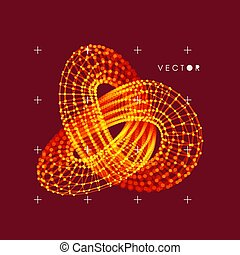 Trefoil knot. Vector illustration consisting of points and...