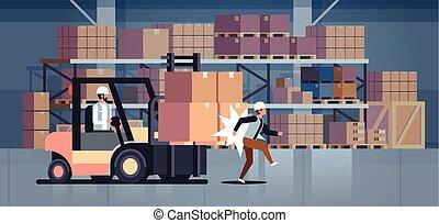 treiber, arbeiter, inneneinrichtung, unglück, fabrik, gefährlicher , zimmer, lager , logistisch, schlagen, transport, horizontal, kollege, gabelstapler, begriff, verletzt, lagerhaus