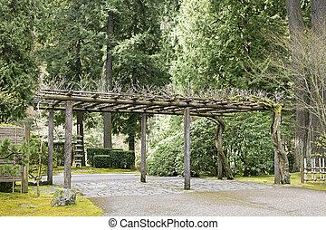 treillis, à, portland, jardin japonais