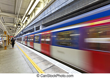 trein, abstract, motion., beweging, vaag