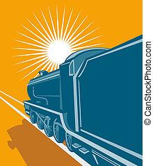 trein, bekeken, van, de, achterkant