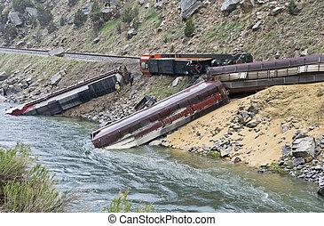 trein, derailed, door, aardverschuiving