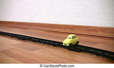 trein, en, auto wrak, speelbal