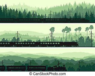 trein, en, heuvels, naald, wood.