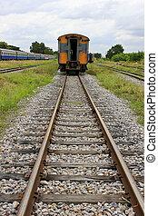 trein, en, spoorweg, bevestigingslijst