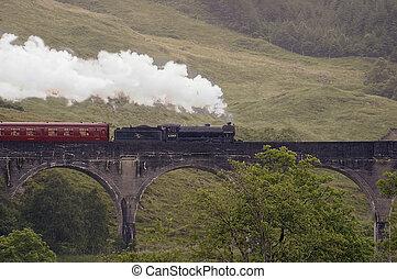 trein, glenfinnon, stoom, bergpas