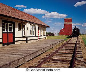trein, graanelevator