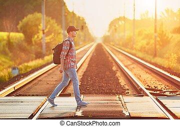 trein, het reizen, natuur