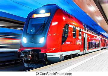 trein, hoog, perron, station, nacht, spoorweg, snelheid