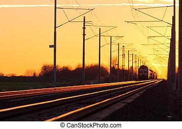 trein, lading, in, spoorweg