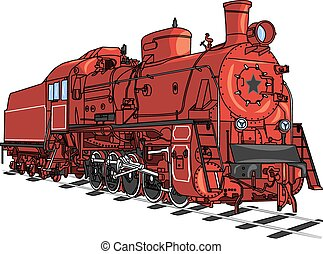 trein, locomotief, vector.