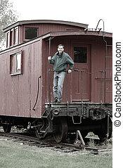 trein, man, kombuis