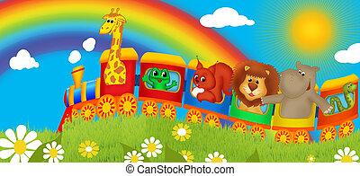 trein, met, dieren