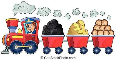 trein, met, gevarieerd, materialen
