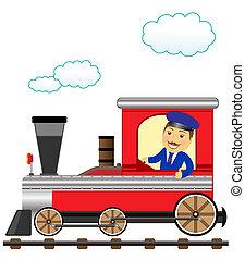 trein, met, glimlachen, dirigent, duim boven