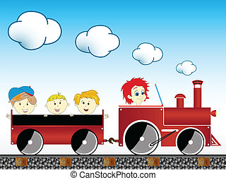 trein, met, kinderen