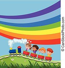 trein, met, kinderen, infront, van, regenboog