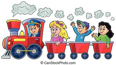 trein, met, vrolijke , geitjes