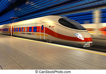 trein, moderne, hoog, station, nacht, spoorweg, snelheid