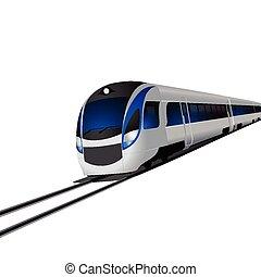 trein, moderne, vrijstaand, hoog, witte , snelheid