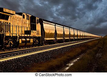 trein, ondergaande zon