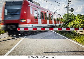 trein, op, de, de kruising van de spoorweg