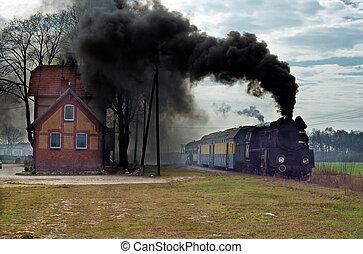 trein, oud, retro, stoom