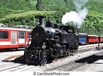 trein, oud, stoom