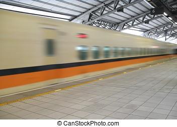 trein, speeds, door, station