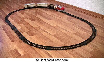 trein, speelbal, en, cirkel, weg, lus