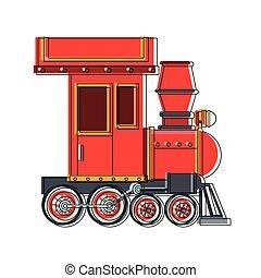 trein, speelbal, spotprent