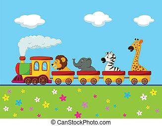 trein, spotprent, dier