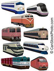 trein, spotprent, pictogram