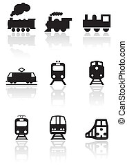 trein, symbool, vector, set.