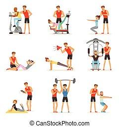 treinador, controle, treinador, pessoas, pessoal, ginásio, exercitar, jogo, vetorial, sob, ilustrações, instrutor, ou