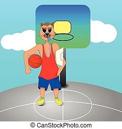 treinador, corte, mão., gato, bola, segurando basquetebol, zangado