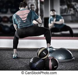 treinador, equilíbrio, trabalhando, bola