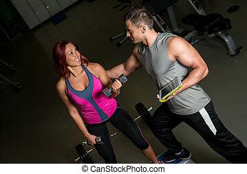 treinador, ginásio, aptidão física