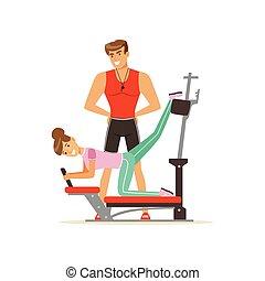treinador, máquina, mulher, pessoas, pessoal, ginásio, condicão física, exercitar, vetorial, controle, treinador, ilustração, sob, profissional