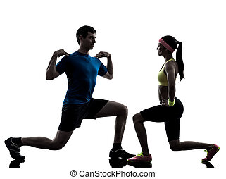 treinador, malhação, exercitar, mulher, condicão física, homem