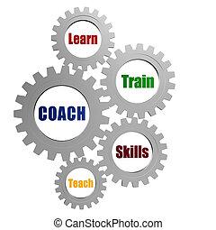 treinador, negócio, cinzento, conceito, engrenagens, palavras, prata